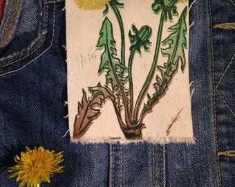 Dandelion Four Color Blockprinted Patch