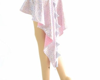 Holographic Dragon Tail Skirt in Pink and Silver Mermaid Scale with Flashbulb Spikes & Hi Lo Hemline 154099