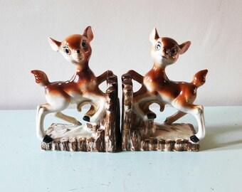 Kitsch Vintage Porcelain 'Bambi' Bookends - 1950s