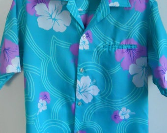 Men's Hawaiian Shirt Tropical Hilo Hattie Shirt Short Sleeve Vintage Shirt Size Small S