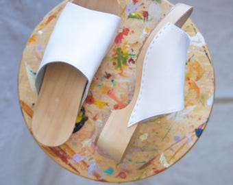 Handmade White Leather Clogs - Never Worn
