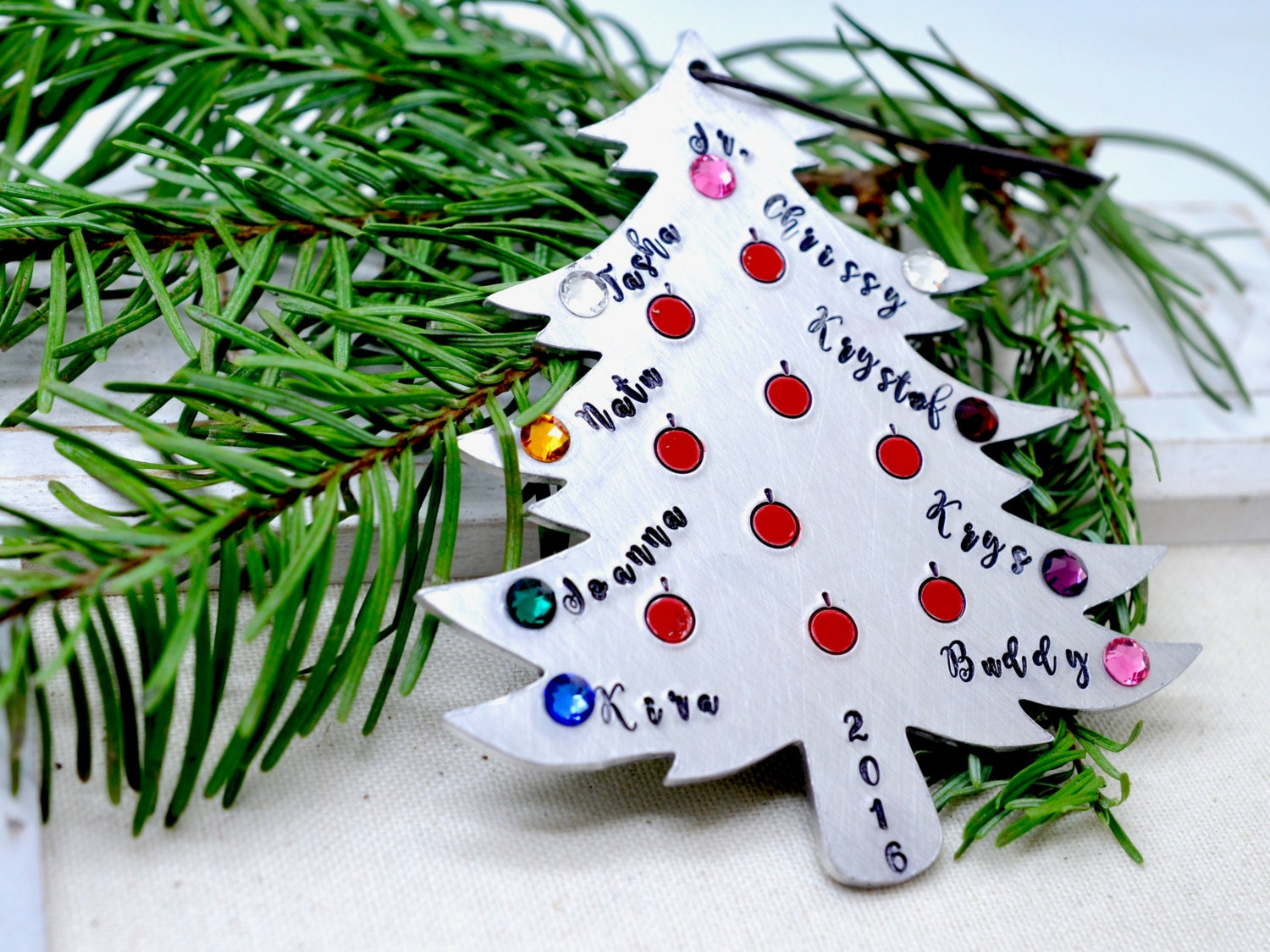 Personalized christmas tree ornament family birthstones