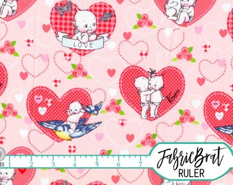 KEWPIE DOLL Fabric by the Yard, Fat Quarter Riley Blake Fabric Pink Red Hearts Retro Quilting Fabric 100% Cotton Fabric Apparel Fabric t2-26