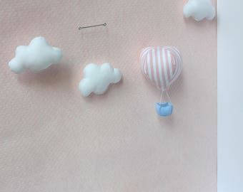 Baby Mobile - Confetti Collection - Hot-air balloon in the clouds - pink stripes