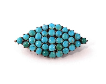 Antique Victorian Brooch 10k Gold Pave Turquoise Pin