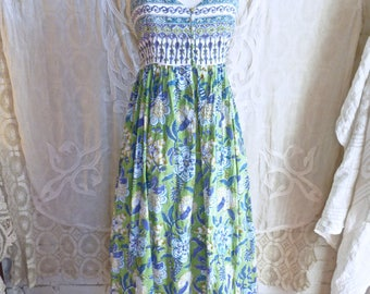 Green Indian Gauze Tapestry Print Cotton Maxi Dress