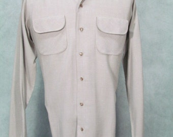 1950s Gabarrdine Shirt Flecks Pattern Flap Pockets 1940s Vintage Rockabilly Shirt Size 42L