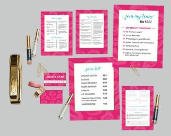LipSense Marketing Material Set - Lips Pattern  (7 items)