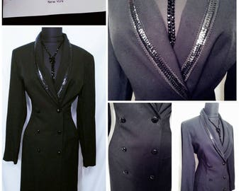 Vintage 80s Danny & Nicole New York Black Tailored  Double Breased Suit Dress w/ Sequin Trim Glam Power Suit Coat Dress