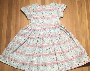 Bunnies with Flowers and Easter Eggs Girls Dress Size 2T, 3T