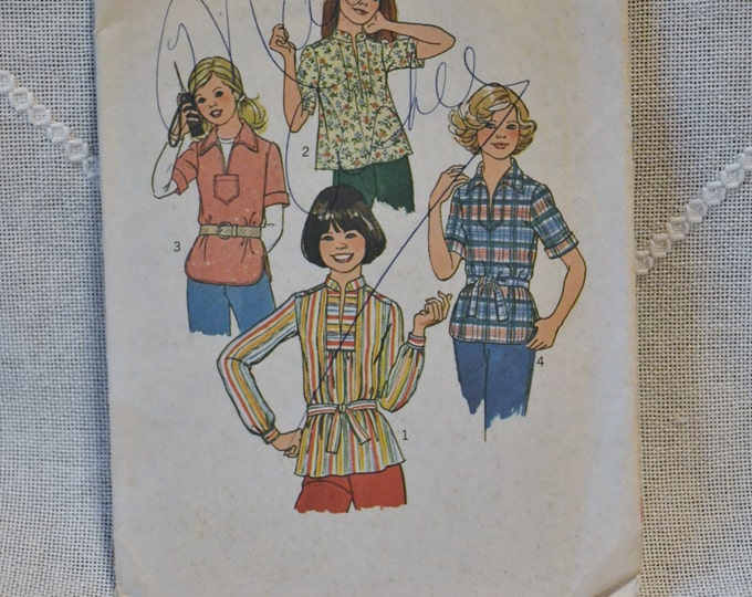 Vintage Simplicity 7809 Sewing Pattern Crafts Young Junior Teen Tops Size 5 6 DIY Sewing Crafts PanchosPorch