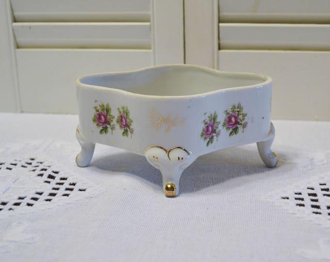 Vintage Ceramic Dish White Pink Roses Ornate Details No Lid Trinket Dish Bowl Craft Supplies PanchosPorch