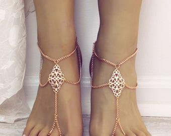 Boho tribal barefoot sandals tribal anklet foot chain foot jewelry bohemian chain gold anklet gold foot thong slave anklet gypsy jewelry