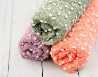 Textured Newborn Wrap; Stretch Knit Fabric Wrap; Newborn Posing Fabric; Baby Wrap; Newborn Photo Prop RTS Sage Green Lavender Peach