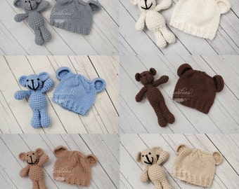 ON SALE Newborn Teddy bear set, newborn bear prop, bear photography prop Newborn photo props photography boy girl RTS Baby Shower Gift