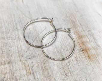 Sterling silver ear wires - handmade interchangeable hoop earrings - everyday hoop earrings