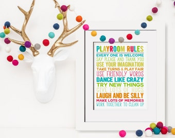 Playroom Rules Printable|Playroom Rules Sign|Playroom Decor|Yellow Playroom Art|Classroom Decor|Daycare Teacher Gift|Indoor Pretend Play