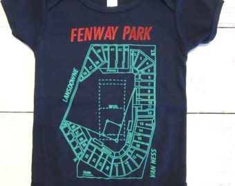 Boston Red Sox Fenway Park baby one piece. Boston baby body suit. Boston baseball infant gift.