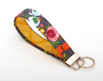 Floral Lanyard, Flower Key Fob, Unique Key Chains - Blooms on Slate - Flower Accessories
