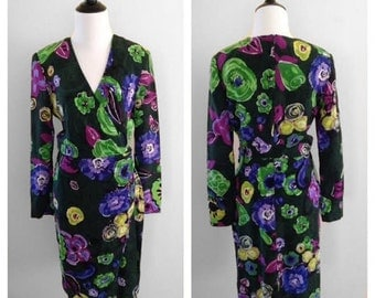 Vintage 1980s Louis Feraud Dress, Long Sleeve Dress, Short Dress, Silk Dress, Floral Dress, Wrap Dress, Size Small Dress