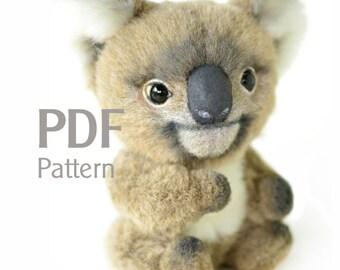 Pattern koala PDF 5.1 in, artist teddy pattern, koala pattern, ePattern, sewing pattern, pdf pattern, stuffed teddy pattern