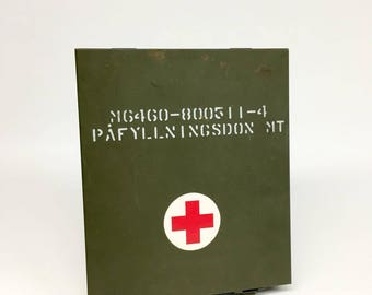 Vintage First Aid Kit, Army First Aid Kit, Swedish Army First Aid, Red Cross Kit, Industrial Medical, Military Gifts, Vintage Medical Kit