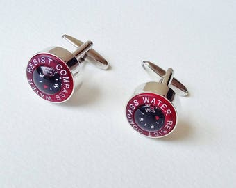 Working Compass Mens Cuff Links Novelty Cufflinks Gifts For Him Mens Shirt Accessories Red Black