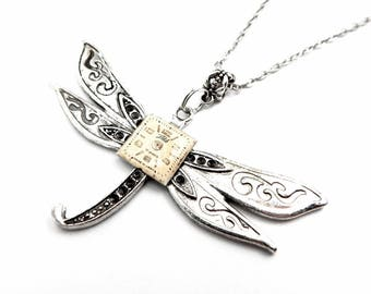 Clockwork Dragonfly Pendant - Silver Dragonfly Necklace - Clockwork Insect Pendant - Steampunk Inspired - Halloween Gift Idea