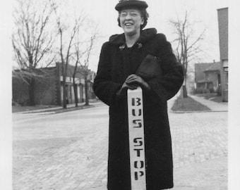 Vintage Photo..Bus Stop, 1940's Original Found Photo, Vernacular Photography