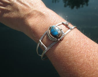 Vintage Turquoise and Sterling Silver Feather Cuff Bracelet