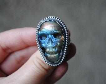 RESERVED: Labradorite Skull Ring, SIZE 6
