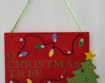 Christmas tree & lights wood sign~Wall hanging~Christmas decoration