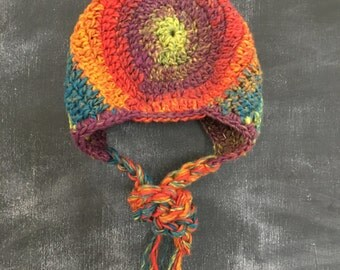 Boho Baby Bonnet, Urban Baby Bonnet, Hippie Baby Bonnet, Trendy Baby Bonnet, Infant Bonnet, Colorful 100% Cotton Yarn, Size 6-12 Months