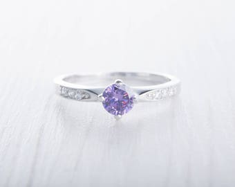 Natural Amethyst Solitaire engagement ring - Available in White gold and Sterling Silver - handmade