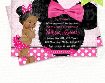 minnie mouse baby shower invitation baby girl minnie style v5 pink and black