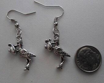 Stork with Bundle of Joy Tibetan Silver Earrings & Corded Necklace