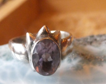 Amethyst and Sterling silver ring..... size 6.5 only