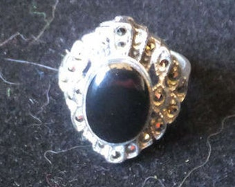 Sterling Silver, Onyx and Marquisette Ring..... size 5 only