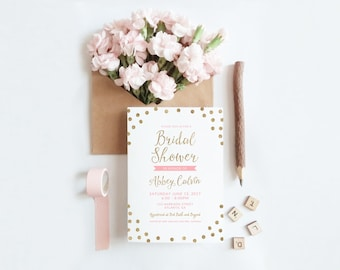 Glitter Bridal Shower Invitation (Printable)