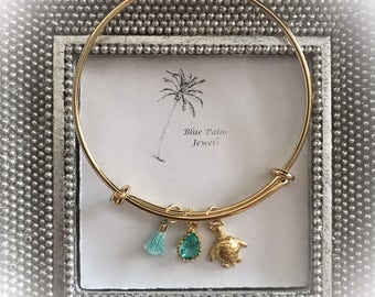 Handmade Gold Turtle Charm Bangle