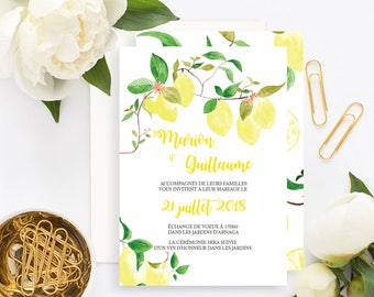 Yellow Lemon Wedding invitation with white envelope - Wedding invitation - Lemons Botanical Bohemian Rustic wedding - Lemons invitation