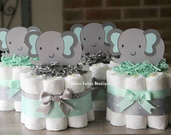 SET OF 4 Mint And Gray Elephant Diaper Cakes, Jungle Baby Shower  Centerpieces, Mint