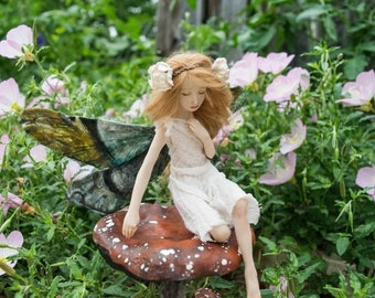 OOAK Fairy Art Doll Sculpture // Ophelia // Mother's Day // Gifts for her // Magic Faerie wings // Polymer clay