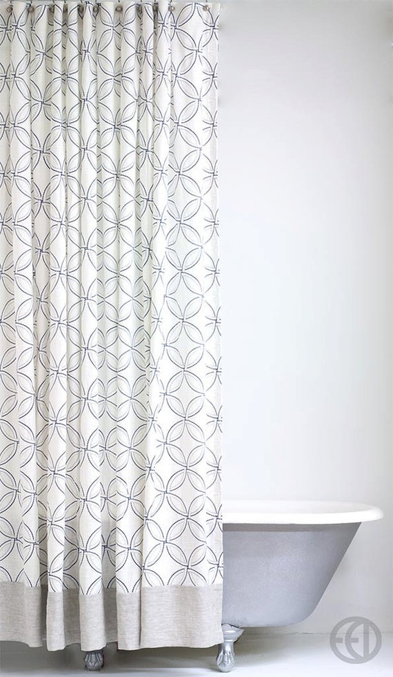 Extra Long Linen Shower Curtain With Geometric Pattern And