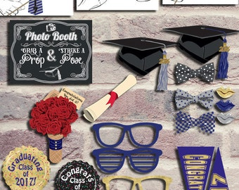 2017 Graduation Photo Booth Props, Instant Download Graduation Props, Class of 2017 Printable Photo Booth Props