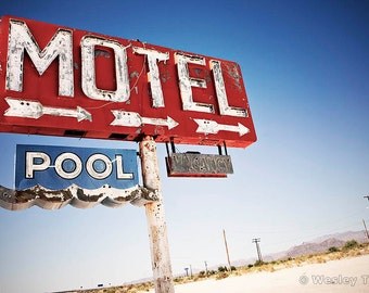 Motel & Pool - Abandoned Midcentury Neon Sign Photograph