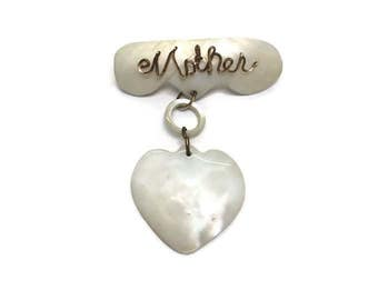 Vintage Mother Brooch, 1940s 1950s Brooch, Mother of Pearl Mother Pin, Gift for Mother, Costume Jewelry