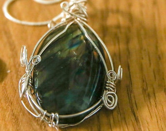 Large Labradorite Pendant with 925 Silver Chain