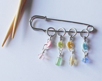 Decorative Knitting Counters, Pretty Pastel Stitch Markers, Knitter Lover, Gifts for Creatives, Set of 4, Yarn Lovers, Wire Wrapped Detail