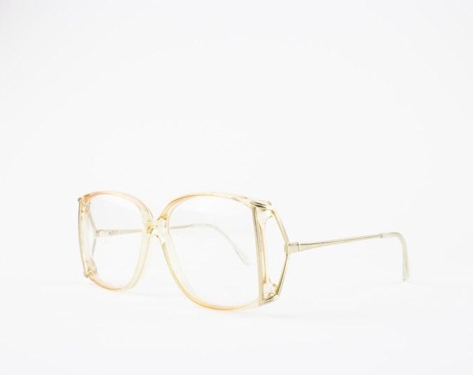 80s Vintage Glasses | Oversize Clear and Gold Eyeglass Frame | NOS Round Eyeglasses - Kelsey